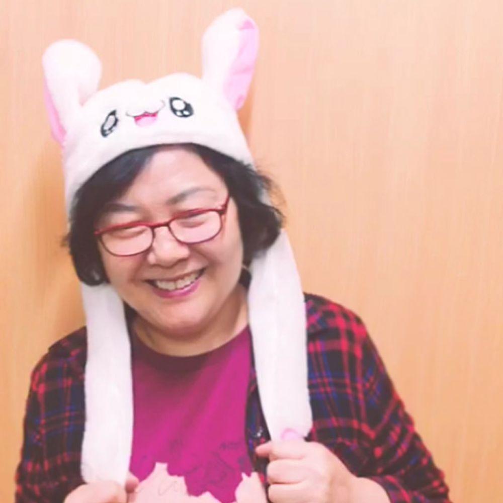 움직이는 토끼 귀 모자 아이돌 동물 산타 파티 TV