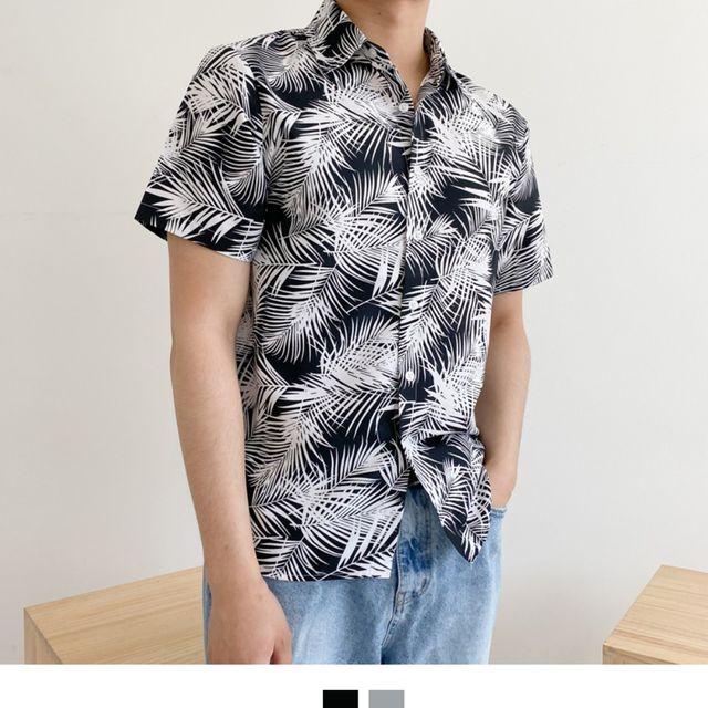 W 야자수잎 패턴 남성셔츠