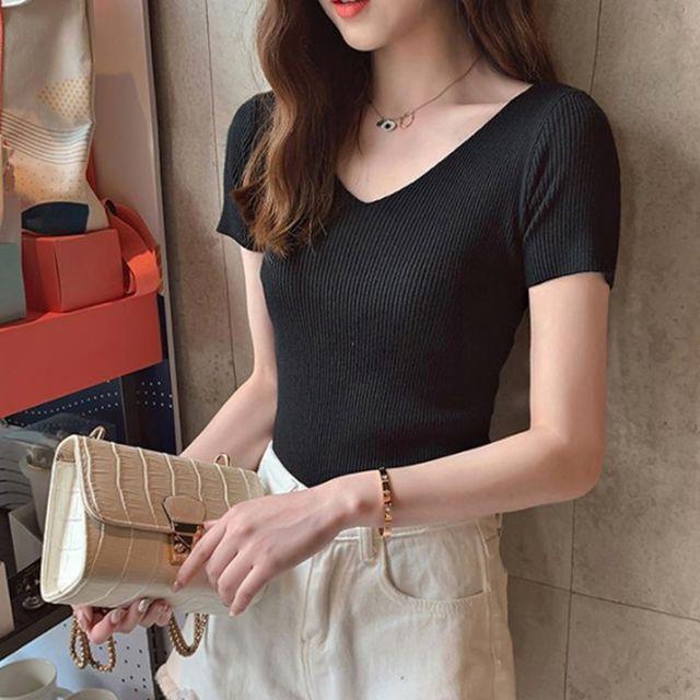 W 여자 슬림 스타일 골지 브이넥 부드러운 반팔 티셔츠