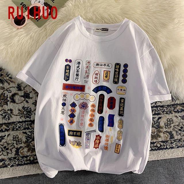 [해외] RUIHUO 하라주쿠 스타일 T 셔츠 남성 의류 코튼 T 셔