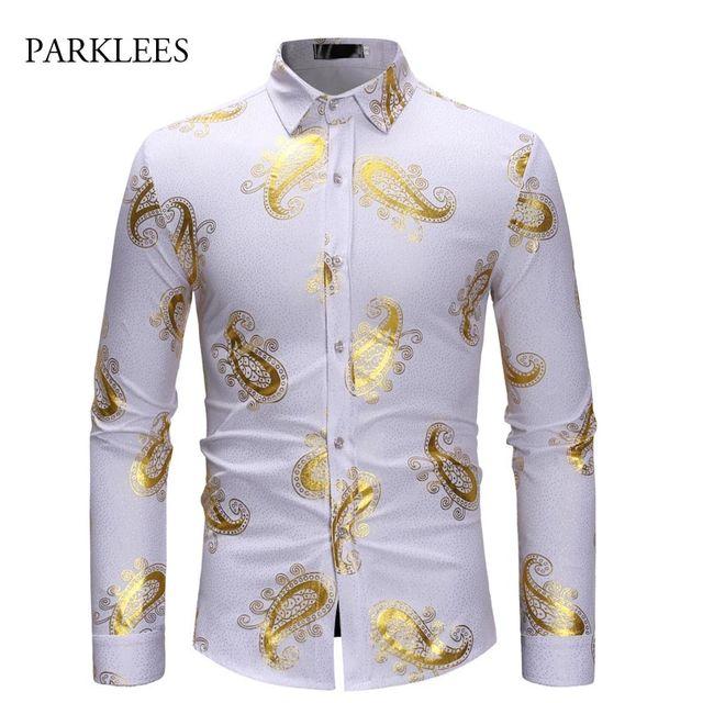 [해외] 골드 브론 징 페이즐리 셔츠 남성 슬림 피트 chemise