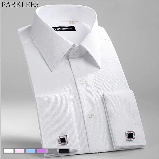 [해외] 화이트 웨딩 드레스 셔츠 남성 프랑스어 커프스 단추