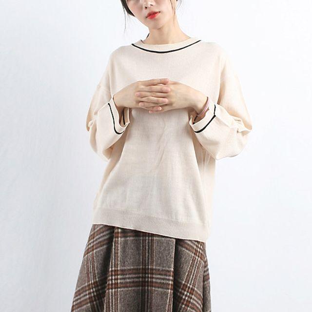 여성 간절기 가벼운 외출복 통소매 로즈핏 니트티셔츠