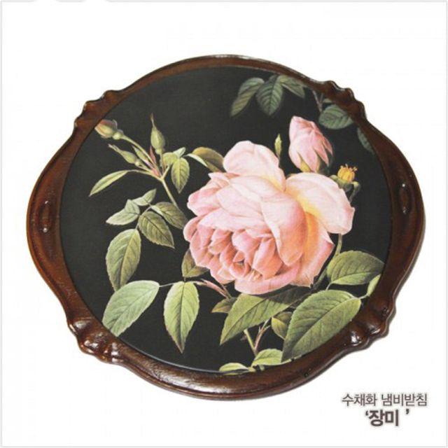 탄탄한 타일수지로 제작한 수채화 냄비 받침대 장미