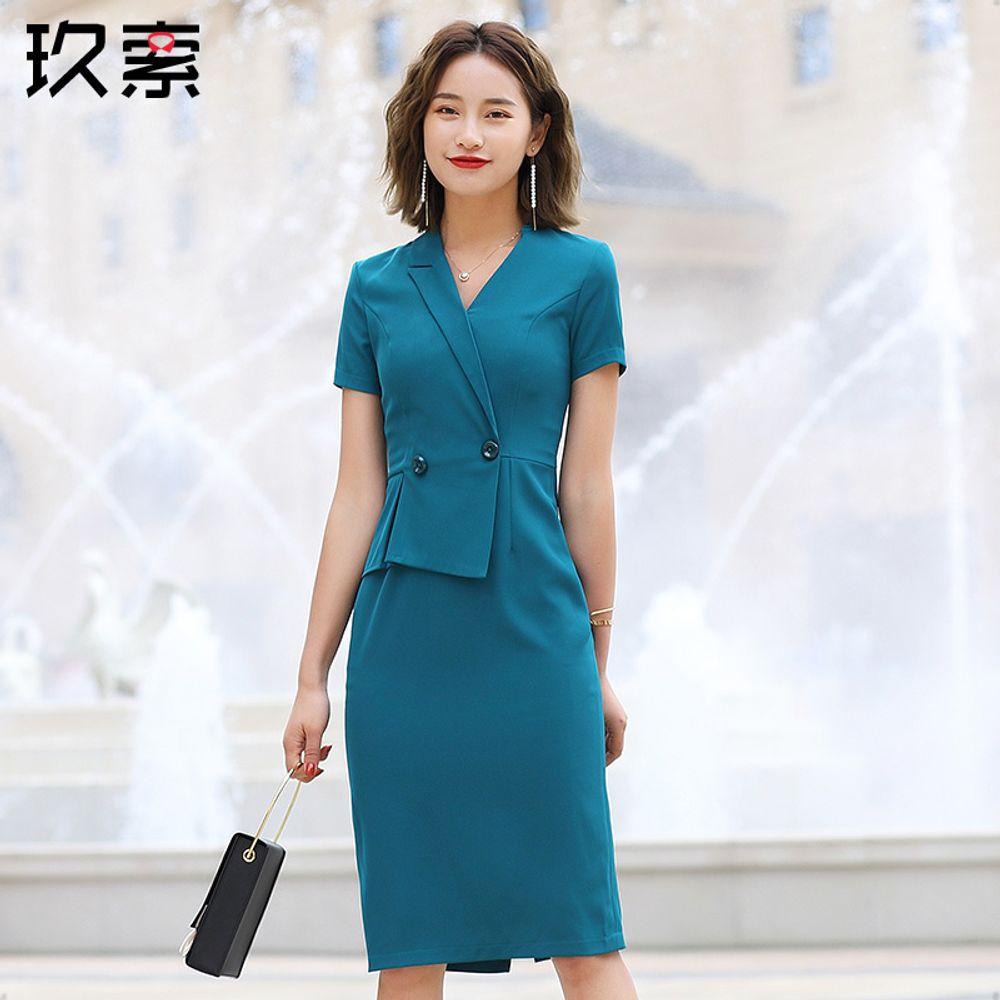 1ca9580150a [해외] 여자 패션 칼라 드레스 스커트 슬림 여름 정장원피스