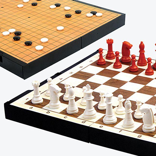[더산쇼핑]명인 M-150 소형 바둑-체스(양면) 접고펼수있는 휴대용 바둑 체스 서랍식 가로세로 26cm 보드게임 보드게임류