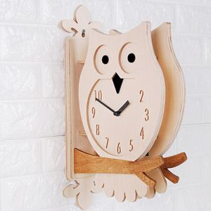 타임데코 인테리어 자작나무 부엉이 양면 벽시계