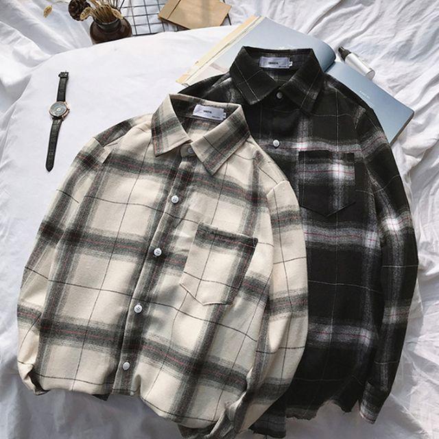 W 남성 여유로운 오버핏 루즈핏 체크 셔츠 남친룩