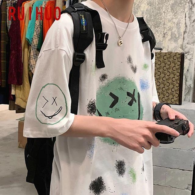 [해외] RUIHUO 스마일 프린트 반소매 T 셔츠 패션 Streetwear