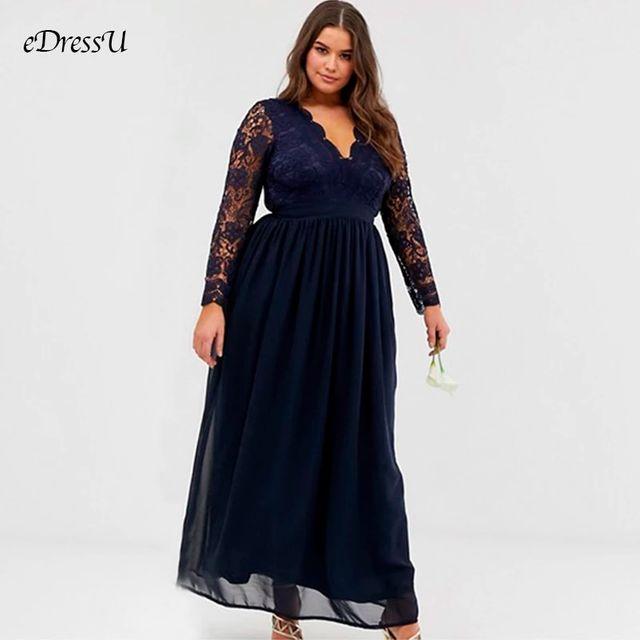 [해외] 플러스 사이즈 V 목 여성 이브닝 파티 드레스 레이스