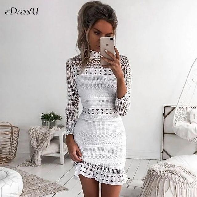 [해외] 여자 레이스 드레스 터틀넥 저녁 파티 드레스 작은 흰
