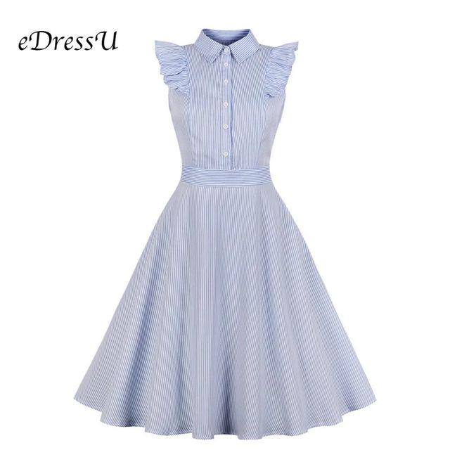 [해외] Edressu 플러스 사이즈 셔츠 드레스 러블리 스트라이