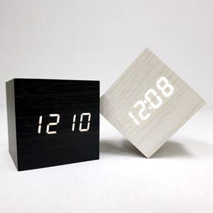 LED 큐브 우드 탁상시계 알람시계 LED시계 무소음