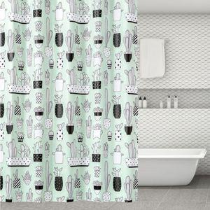 180x180 샤워커튼 욕실 인테리어 선인장 패턴