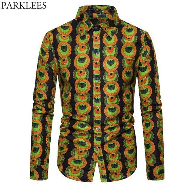 [해외] 3d 토템 서클 인쇄 아프리카 셔츠 남자 2019 새로운