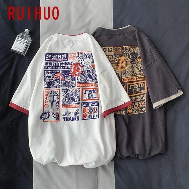 [해외] RUIHUO 코튼 T 셔츠 남성 의류 티 셔츠 남성 일본 Str