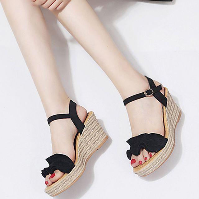 W 스트랩 웨지 샌들 여름 캐주얼 패션 여자 신발