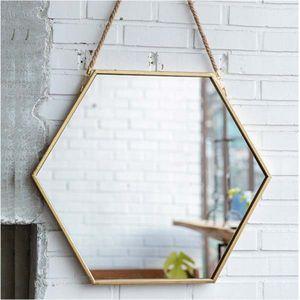 엔틱 인테리어 카페 사무실 골드 팔각 거울(끈포함)