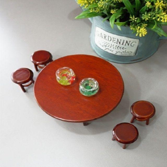 미니어쳐가구 접이식 원형 테이블 세트 미니어처