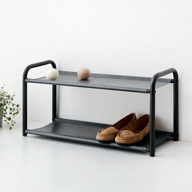 마켓비 MALGO 간편조립형 신발장 선반 600 2단 블랙