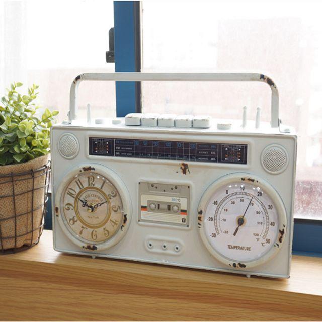 빈티지 인테리어 장식 소품 카셋트 탁상시계 미니어처