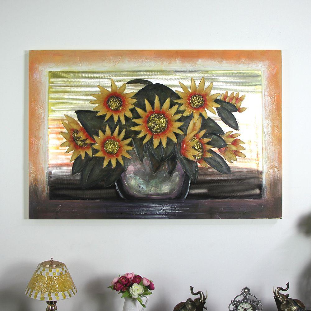 N 해바라기꽃화병-특대 캔버스 유화 벽걸이 그림액자