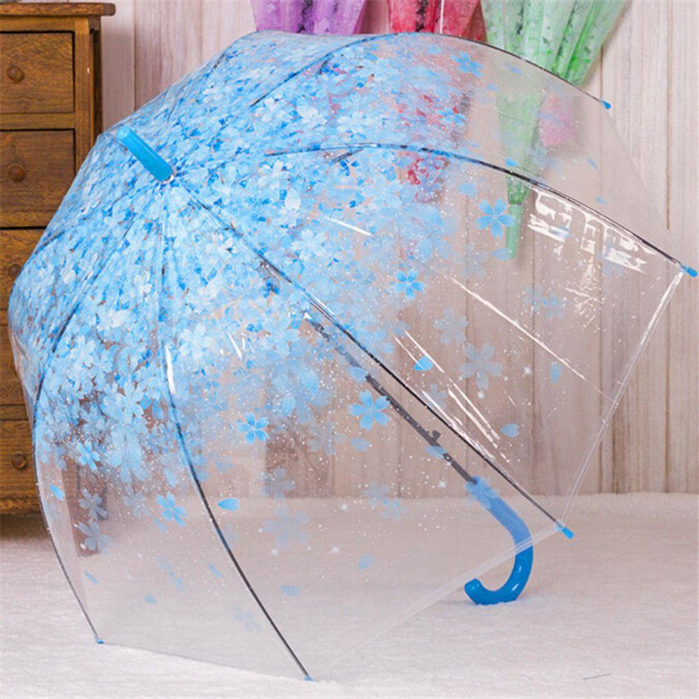 자동 우산 고급 투명 벚꽃 튼튼한 가벼운 장우산 블루