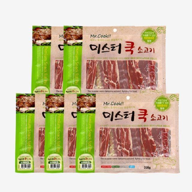 강아지 간식 애견 육포 쇠고기 스테이크 300gx5개