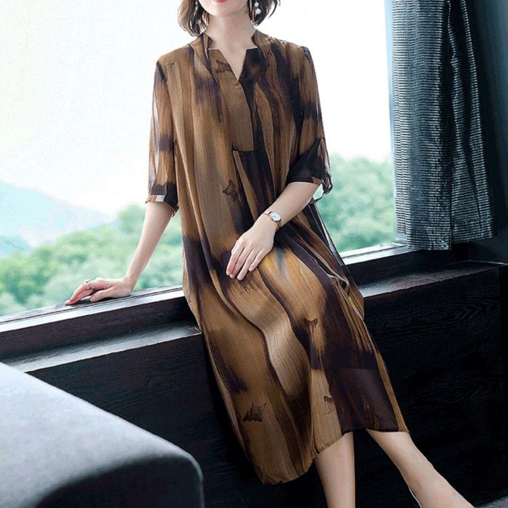 여성 여름 브라운 루즈핏 반팔 쉬폰 원피스