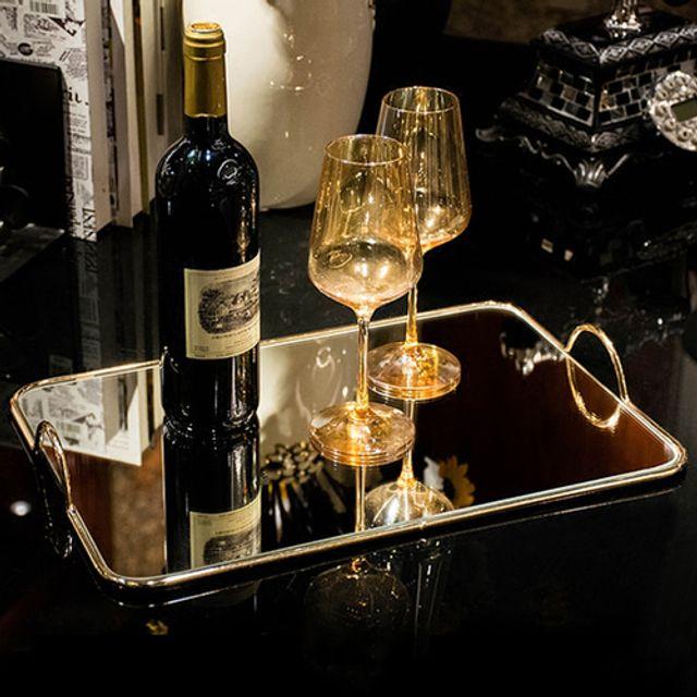 골드 미러트레이 대 와인 접시 받침대 화장품 쥬얼리