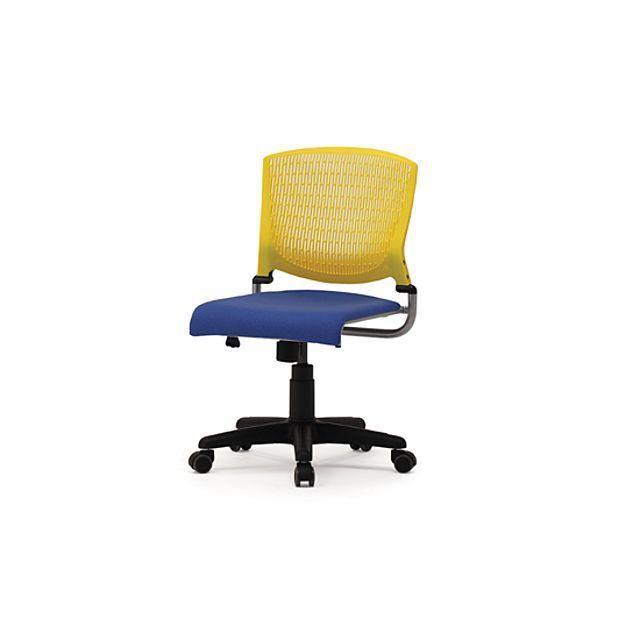 회전형 팔걸이 의자 APH 옐로우 청색 PP 망사 등받이