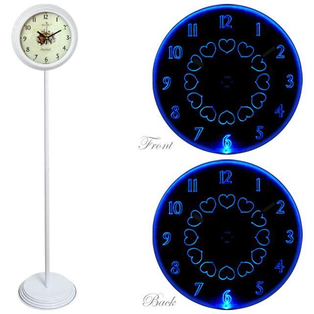 GB6801 무소음 LED 블루 양면 스탠드시계 화이트 장미