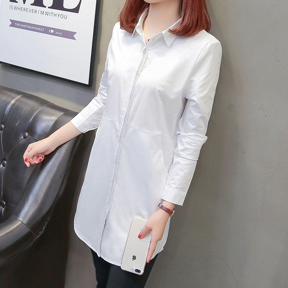[더산직구]여성흰셔츠 긴소매 봄 느슨한 캐주얼 롱셔츠 칼라셔츠/ 배송기간 영업일기준 7~15일