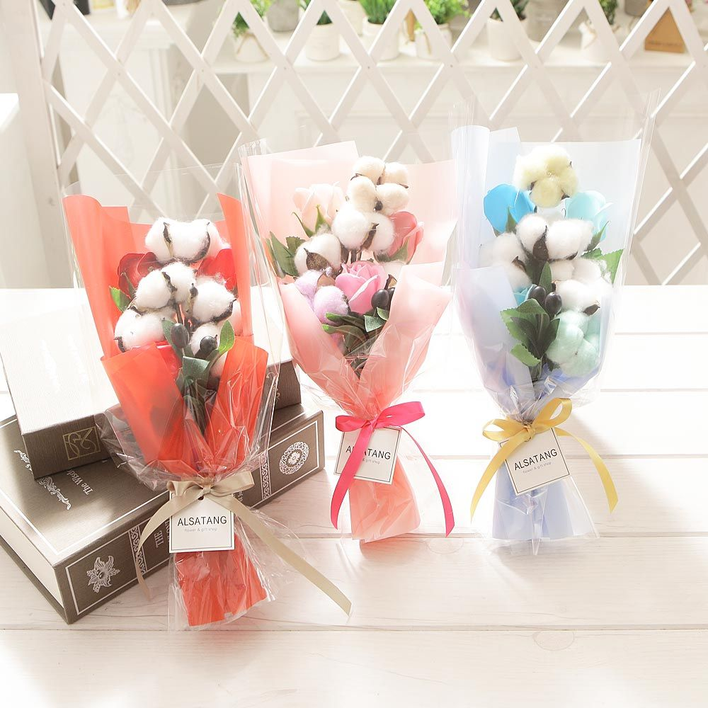 스윗코튼부케(블루) 비누꽃 졸업식 재롱잔치 꽃다발
