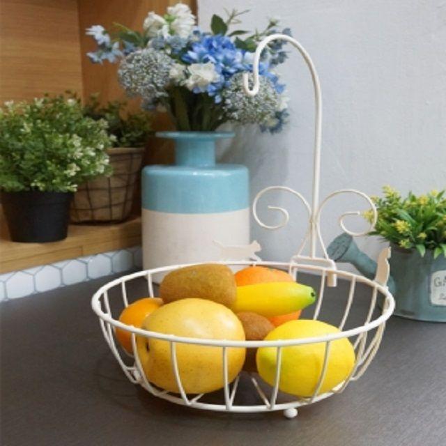 과일 바스켓 화이트 바구니 바나나걸이 철제 소품