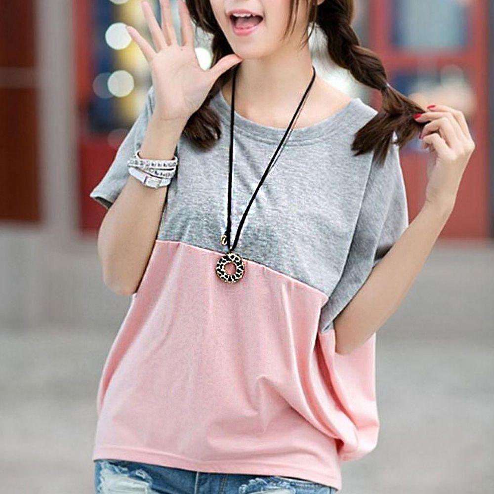 하프 배색 여성 데일리 아이템 패션 반팔 티셔츠