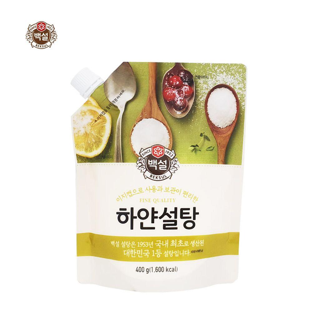 CJ백설 이지캡 하얀설탕400g/ 뚜껑있는 비닐팩 설탕