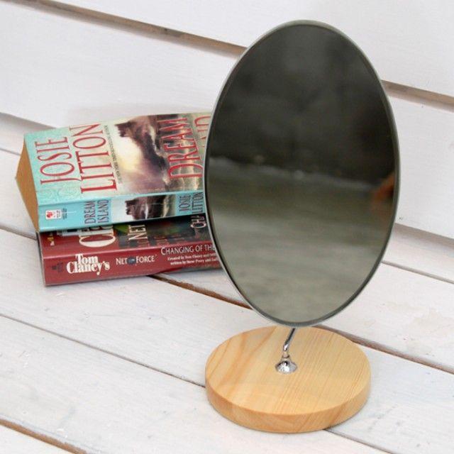 빠띠라인 원목 타원반달 거울 YA [제작 대량 도매 로고 인쇄 레이저 마킹 각인 나염 실크 uv 포장 공장 문의는 네이뽕]