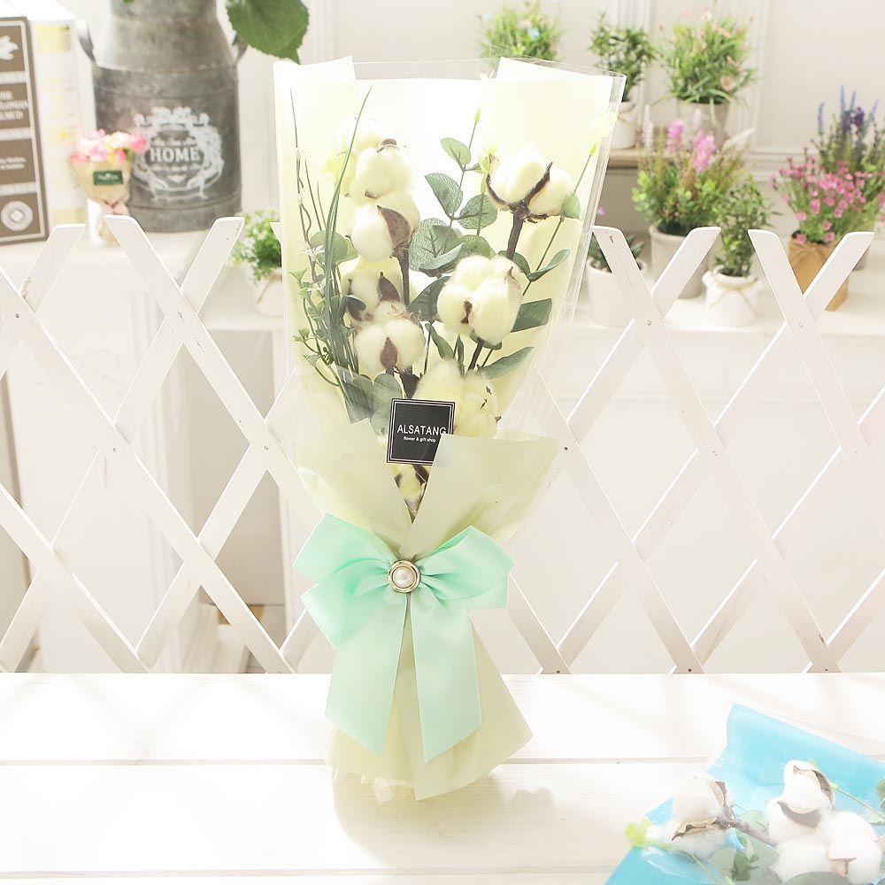 코튼플라워(옐로) 비누꽃 화이트데이 선물 꽃다발