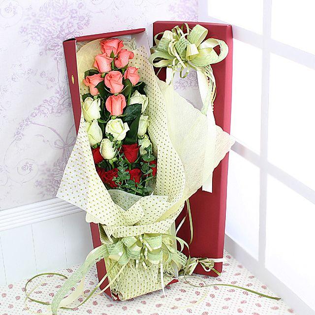 삼색장미 꽃상자-대급 3시간배송 전국 꽃배달 고백 결혼 기념일 감사선물