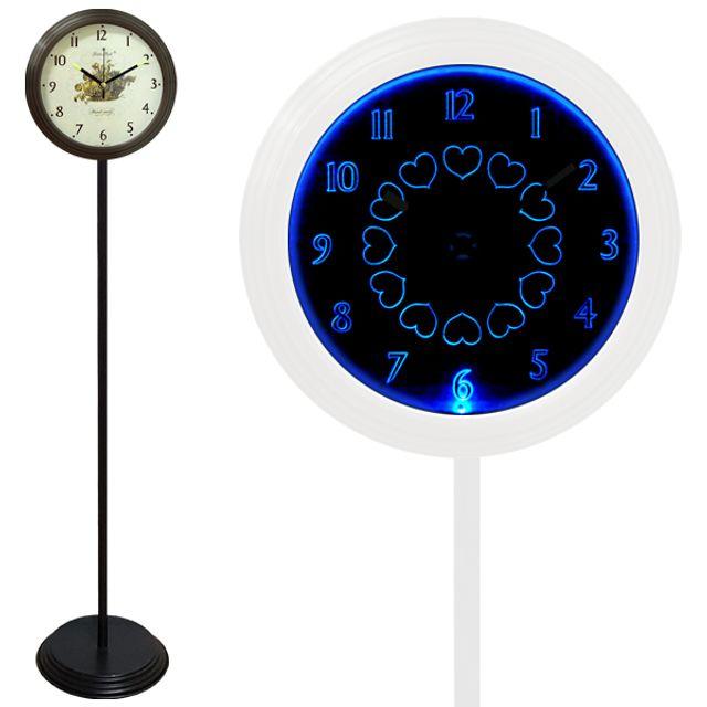 GB6706 무소음 LED 블루 스탠드시계 블랙 과일