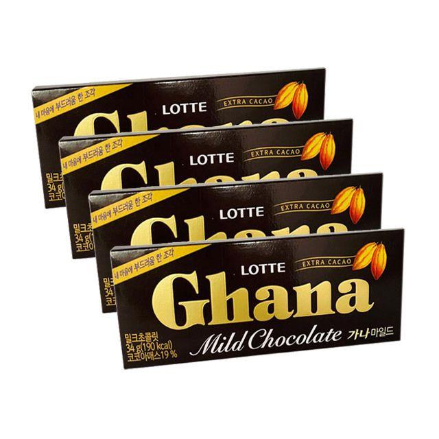 가나 마일드 34g 4개 아이들 간식 초콜릿 과자 모음