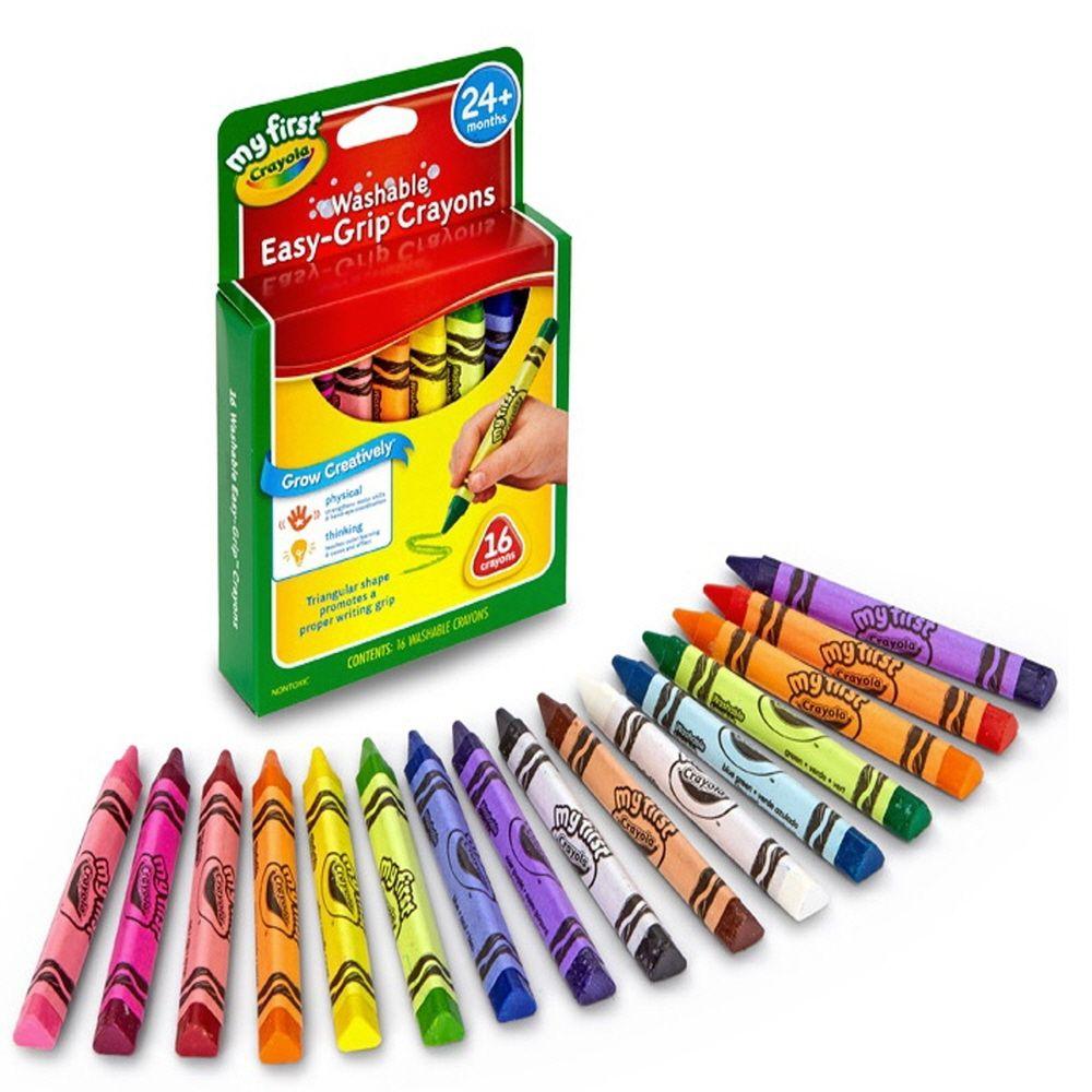 스케치북 색칠 놀이 삼각형 굵은 수성 크레용 16색