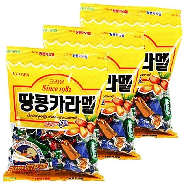 크라운)땅콩카라멜 325g x 3개 고소한 땅콩과 달콤한 카라멜