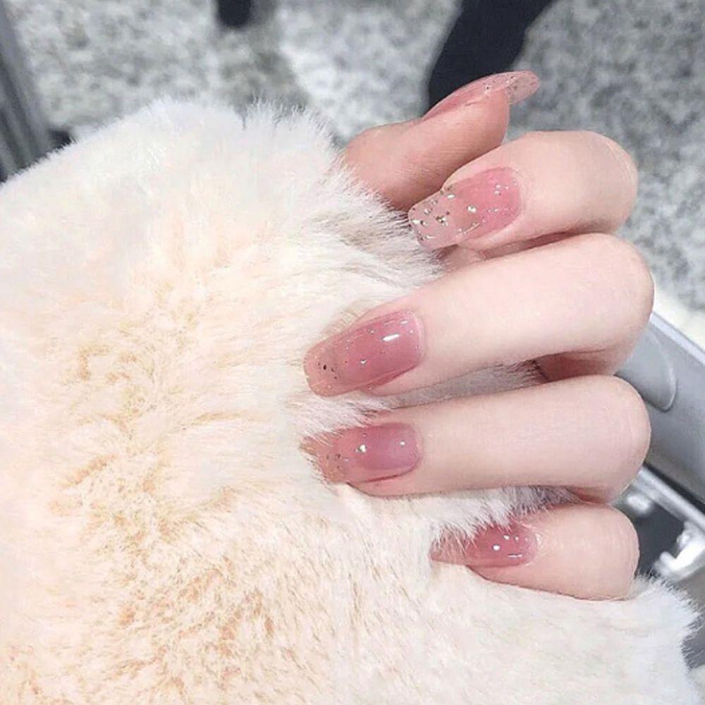 키밍 반짝이 셀프 네일 아트 네일팁 핑크 웨딩