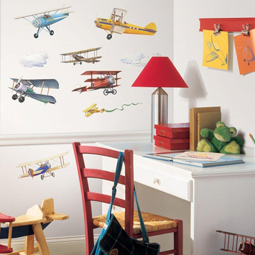 어린이집 아이방 DIY 데코 시트 빈티지 비행기 공간