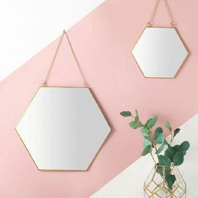 벽걸이 골드 황동 육각 스트랩 거울 대형