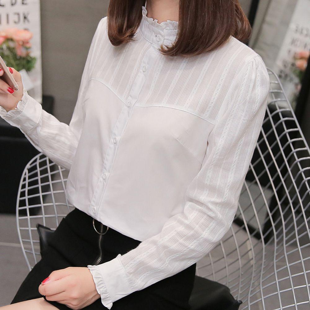 [더산직구]흰셔츠 여성 긴소매 봄 겨울 연꽃잎칼라 셔츠 캐주얼/ 배송기간 영업일기준 7~15일