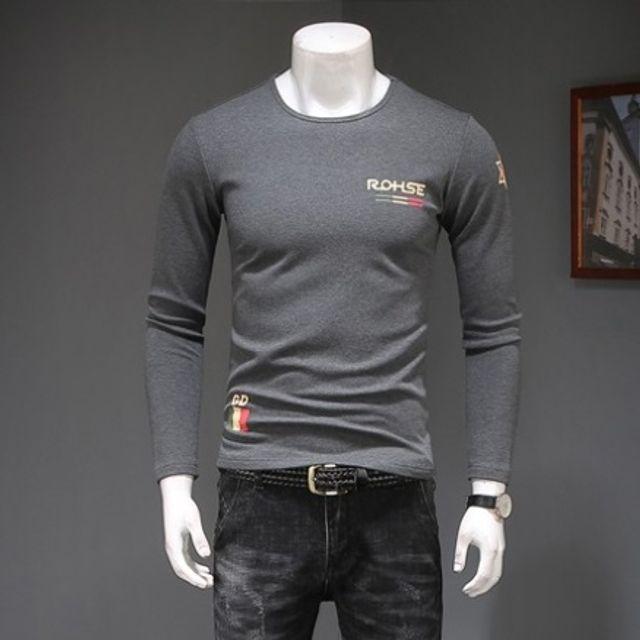 티셔츠 트렌드 남자 긴팔 T-SHIRTS 기본 그레이
