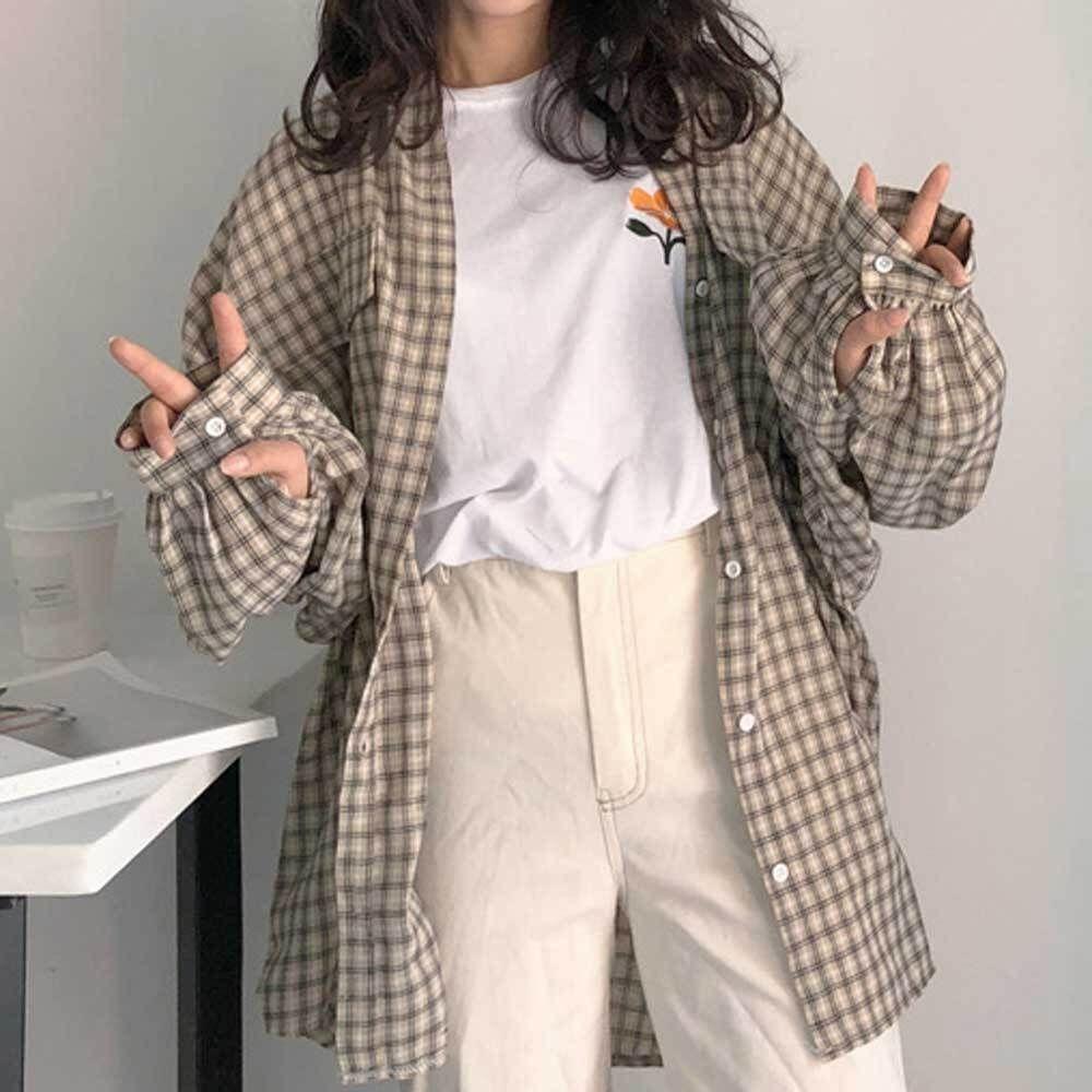 여자 오버핏 체크 남방 롱 셔츠 퍼프소매 봄 아우터